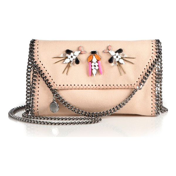 STELLA MCCARTNEY Falabella embellished faux suede chain clutch - Signature chain clutch with beaded embellishmentsChain...