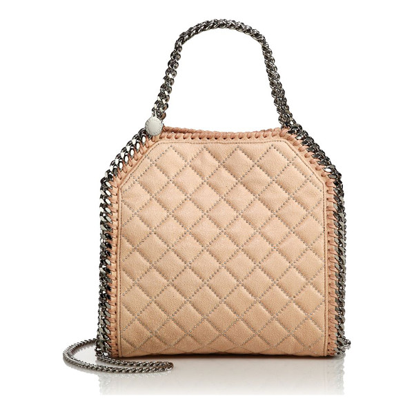 STELLA MCCARTNEY Falabella mini baby bella quilted & studded faux leather shoulder bag - This favorite Stella McCartney silhouette is redefined in...