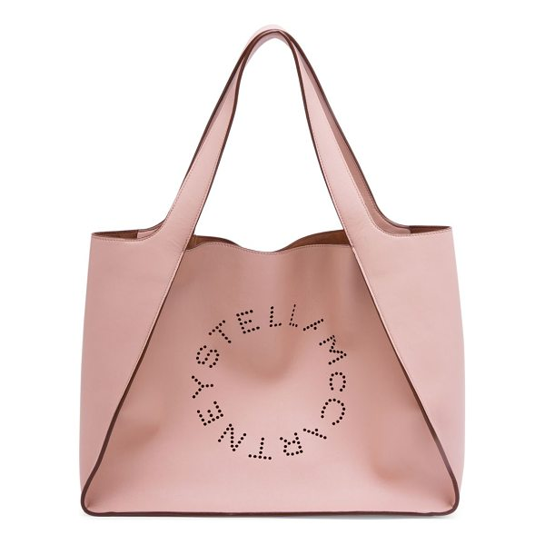 STELLA MCCARTNEY faux leather boxy tote bag - Perforated logo detail defines this oversized tote. Two top...