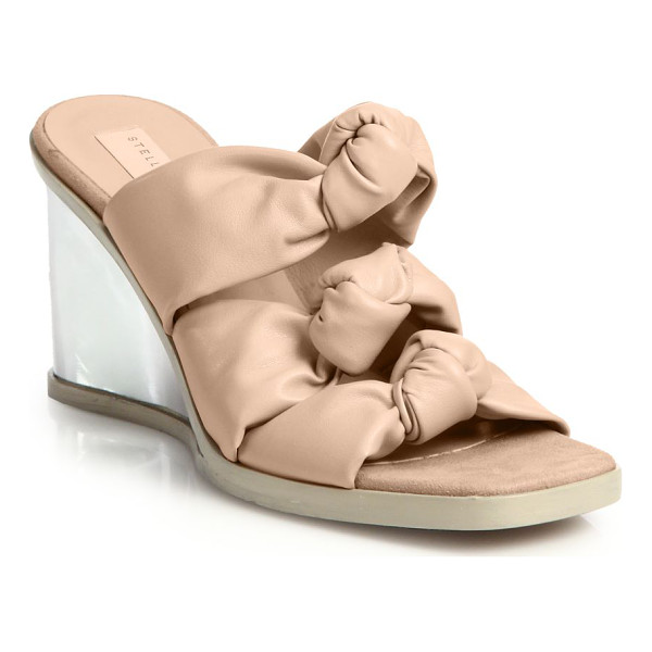 STELLA MCCARTNEY Faux leather knotted mule wedge sandals - Slip into effortless warm-weather chic with these...
