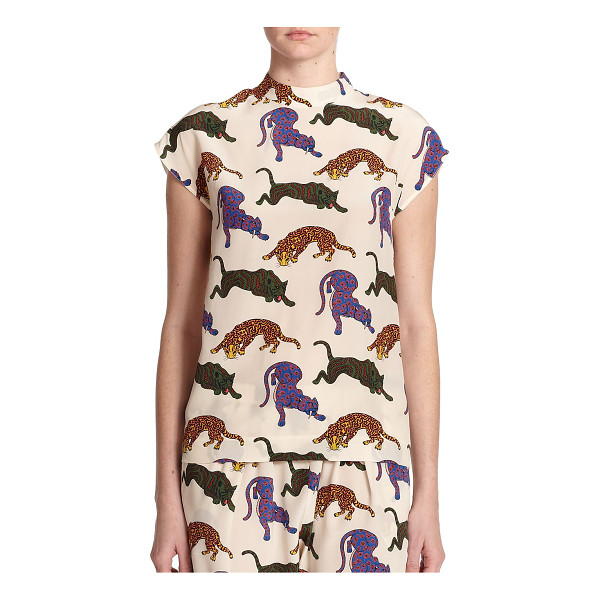 STELLA MCCARTNEY Portia silk wildcat top - Colorful pouncing wildcats add unexpected panache to this...