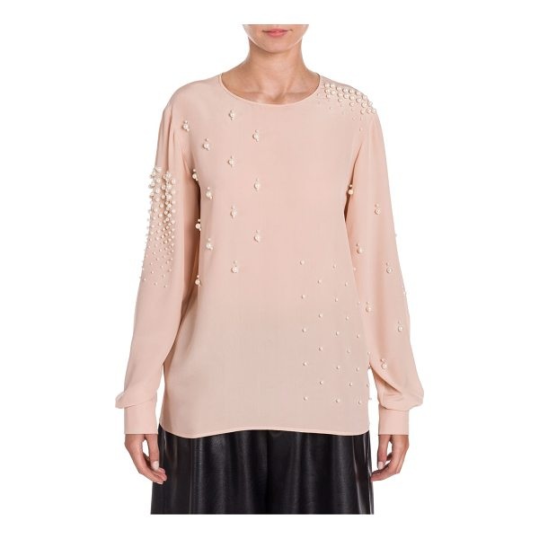 STELLA MCCARTNEY silk pearl-embellished blouse - Pearl studs embellish modern smooth silk top. Round neck....