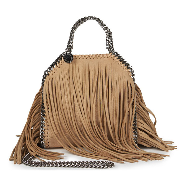 STELLA MCCARTNEY Tiny bella fringe foldover shoulder bag - Long, swingy faux suede fringes inject a Bohemian vibe to...