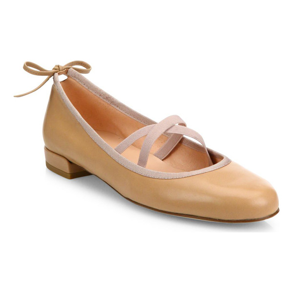 STUART WEITZMAN bolshoi leather ballet flats - Leather ballet flat with crisscross straps and back tie.