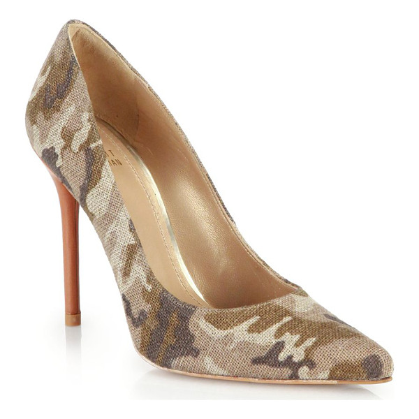 STUART WEITZMAN Camo-printed linen point-toe pumps - Camo goes wild on these glam point-toe pumps with a printed...