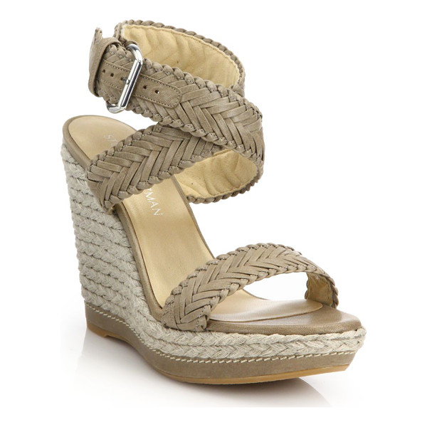 STUART WEITZMAN elixir braided leather & jute wedge sandals - Braided leather and jute trim texture wedge. Jute wedge...
