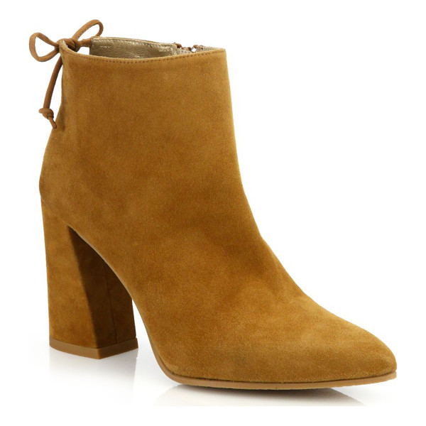 STUART WEITZMAN grandiose back-tie suede block heel booties - Angular block heel elevates suede bootie with tie detail.