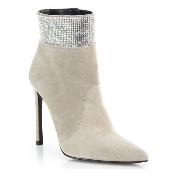 STUART WEITZMAN Highbeam pave crystal & suede booties - A shimmering pave crystal cuff lends palpable glamour to a...