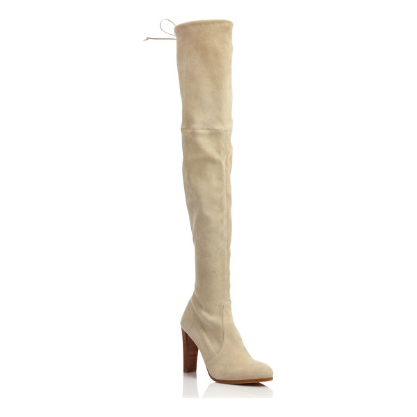 STUART WEITZMAN highland suede over-the-knee boots - Leg-lengthening boot of plush paneled suede. Self-covered...