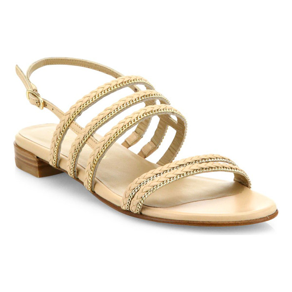 STUART WEITZMAN linedrive braided leather & chain slingback sandals - Braided leather slingback sandal with chain trim. Leather...