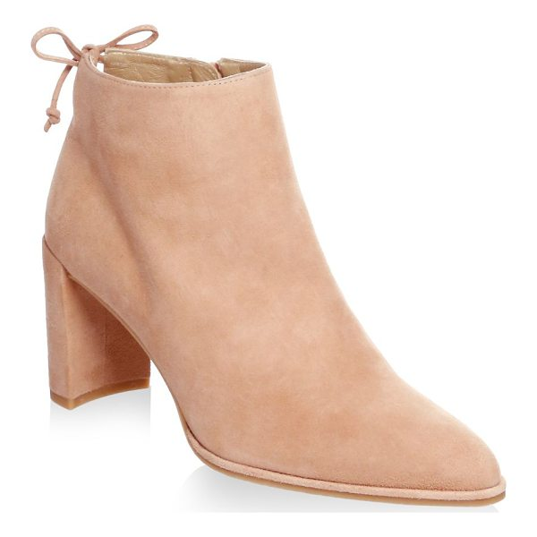 STUART WEITZMAN lofty suede block heel booties - Suede block-heel bootie with back ankle tie. Self-covered...