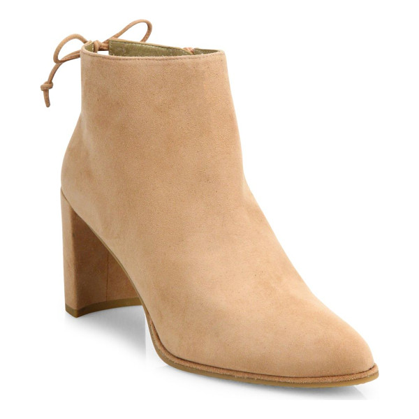STUART WEITZMAN lofty suede block heel booties - Brushed suede block-heel bootie with back ankle tie.