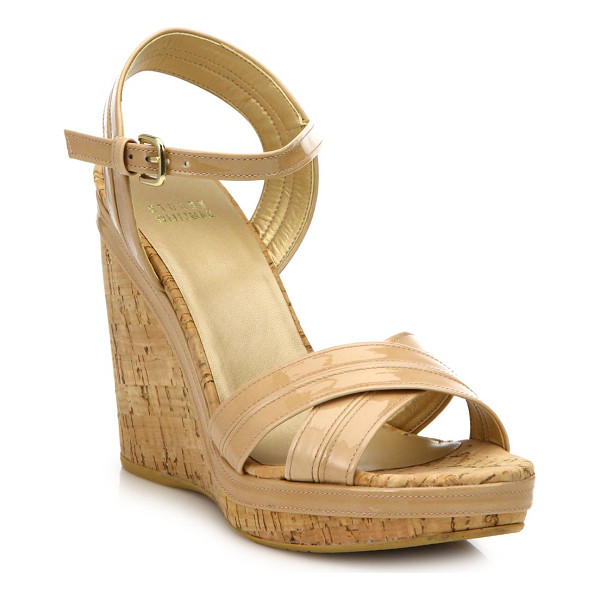STUART WEITZMAN Minky patent leather cork wedge sandals - Patent crisscross sandal set on cork wedge heelCork wedge...