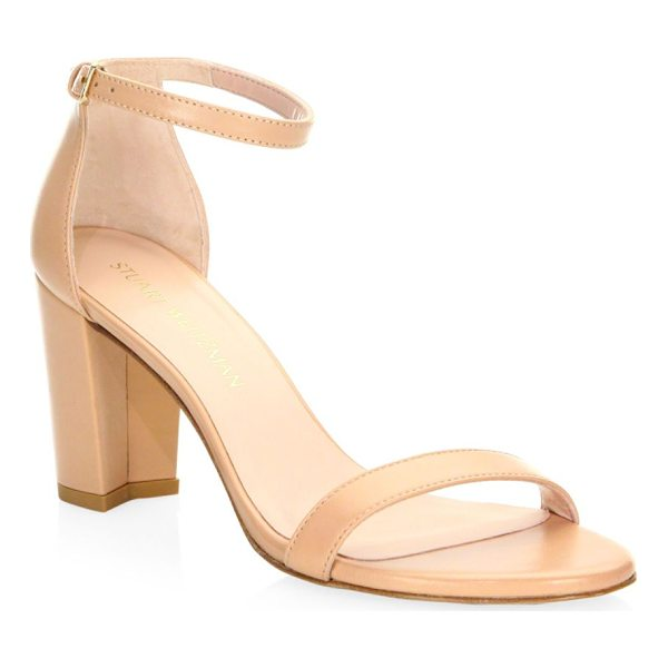 STUART WEITZMAN nearly nude leather sandals - Comfortable heels in versatile nude leather. Self-covered...