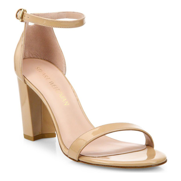 STUART WEITZMAN nearlynude patent leather block heel sandals - Strappy patent leather sandal poised on block heel....
