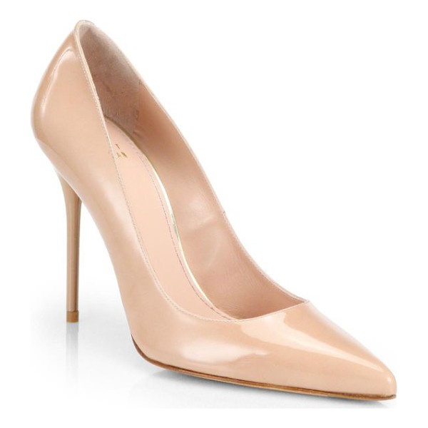 STUART WEITZMAN nouveau patent leather point toe pumps - Timeless point-toe pumps rendered in patent leather.