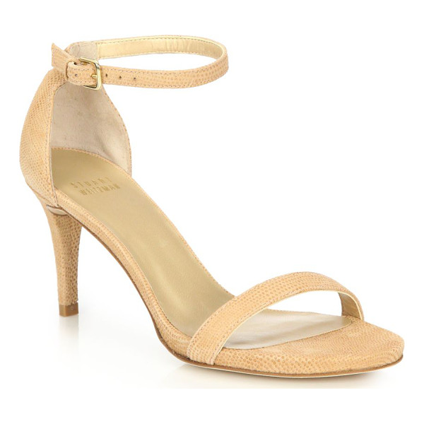 STUART WEITZMAN Nunaked embossed leather sandals - Classically chic ankle strap sandal in embossed leather....