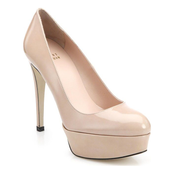 STUART WEITZMAN Mae patent leather platform pumps - Classic, neutral pumps in high-shine patent leather with a...