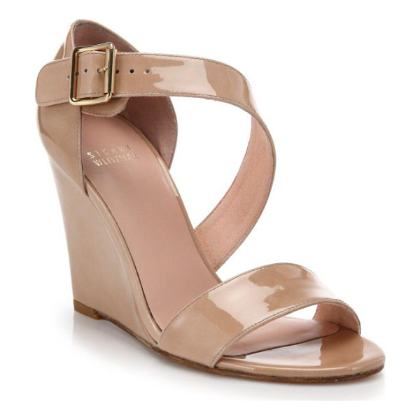 STUART WEITZMAN Lineone patent leather wedge sandals - EXCLUSIVELY AT SAKS. These modern, elegant patent leather...