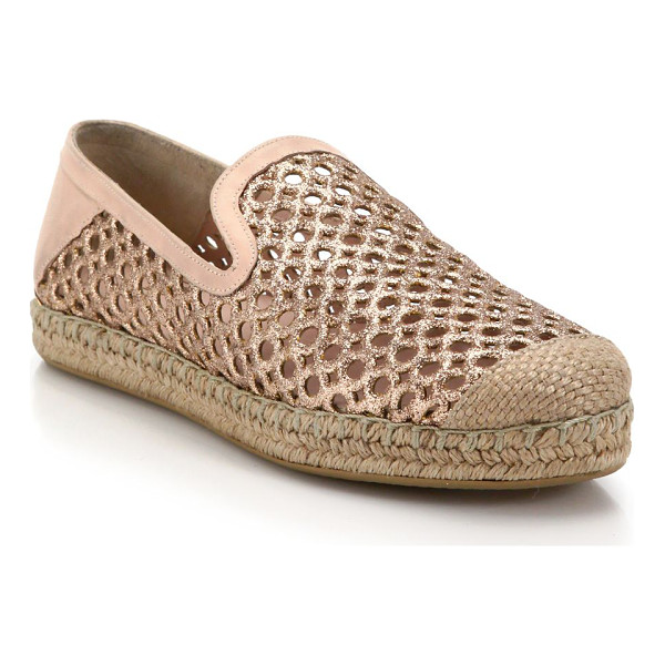STUART WEITZMAN Perforated glittered leather espadrilles - These beach-cool espadrilles are elevated by perforated...