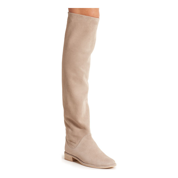 STUART WEITZMAN Rockerchic slouchy suede knee-high boots - Cut from sumptuous suede in a soft, neutral hue, these...