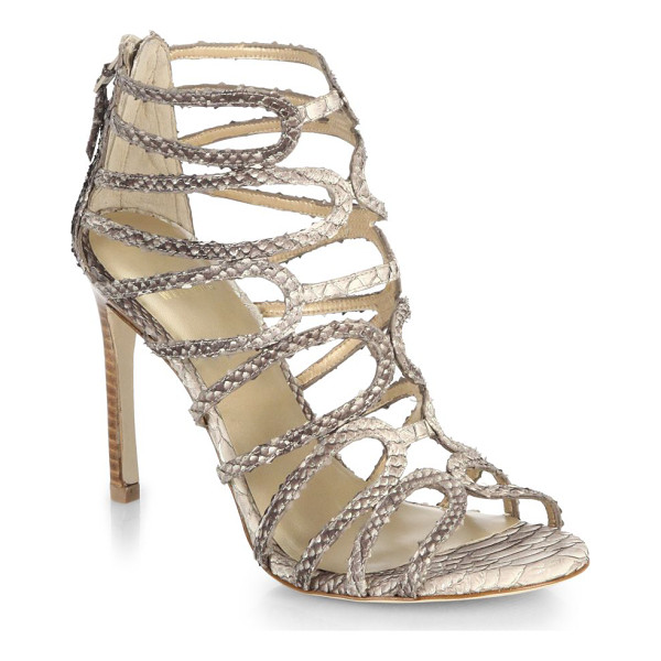 STUART WEITZMAN Snake-embossed leather sandals - Sophisticated and sexy with a tall, slim heel, these...