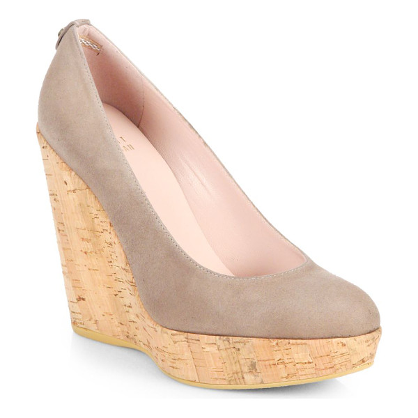 STUART WEITZMAN Corkswoon suede cork wedge pumps - A naturalistic cork wedge elevates these supple suede,...