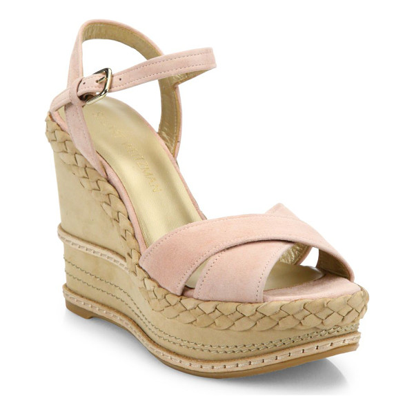 STUART WEITZMAN sundry suede & nubuck wedge platform sandals - Suede crisscross sandal on braided wedge platform....