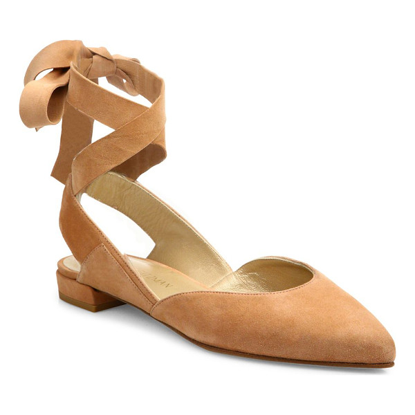 STUART WEITZMAN supersonic suede lace-up flats - Glamorous suede sandals with crisscross lace strap. Suede