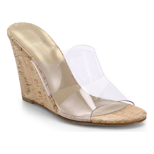 STUART WEITZMAN Translucent & cork wedge mule sandals - These classically chic cork wedge mules get a modern-cool...