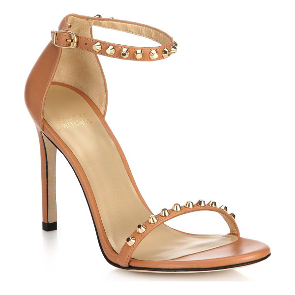 STUART WEITZMAN Whatastud nudistsong leather sandals - EXCLUSIVELY AT SAKS. Rivet studs trace the delicate straps...