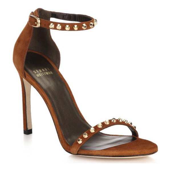 STUART WEITZMAN Whatastud nudistsong suede sandals - EXCLUSIVELY AT SAKS. Radiant goldtone studs trace the...