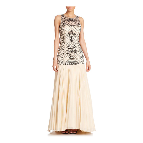 SUE WONG Beaded drop-waist gown - A lattice of rich, jet beaded and sequined embroidery is...