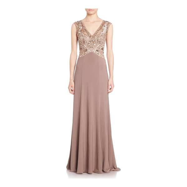 SUE WONG Beaded open-back gown - Cutout back punctures embellished empire styleV-necklineCap...
