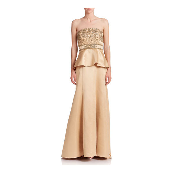 SUE WONG Beaded peplum gown - Crafted from sleek satin, an elegant peplum gown accented...