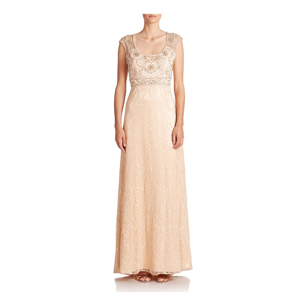 SUE WONG Embellished lace gown - An elegant lace gown accented with intricate beading at the...