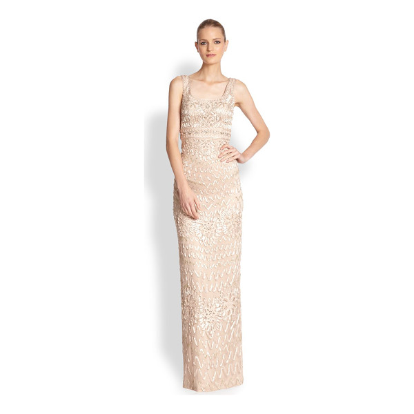SUE WONG Embroidered soutache gown - An elegant column silhouette adorned with swirling soutache...
