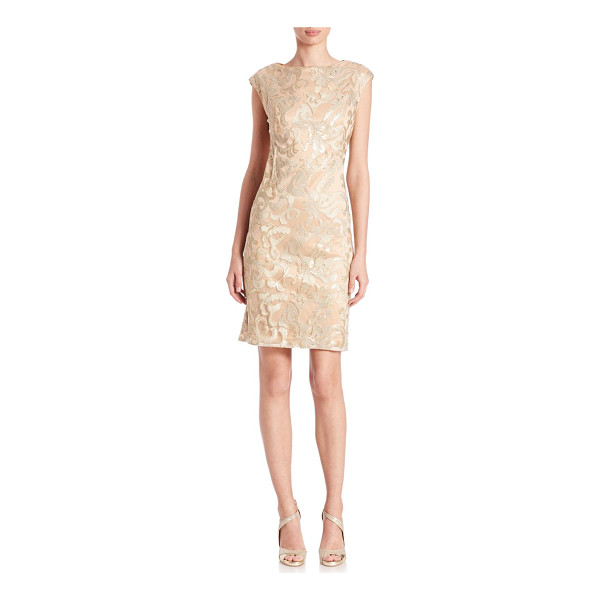SUE WONG Metallic sequined-applique dress - Metallic-finished dress with sequined appliquesBoatneckCap...