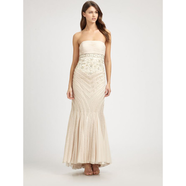 SUE WONG Strapless gown - Ruffled trim enhances the curve-hugging silhouette of this...