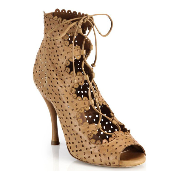 TABITHA SIMMONS Bonai perforated leather lace-up booties - Intricately cut perforations have a seductive, skin-baring...