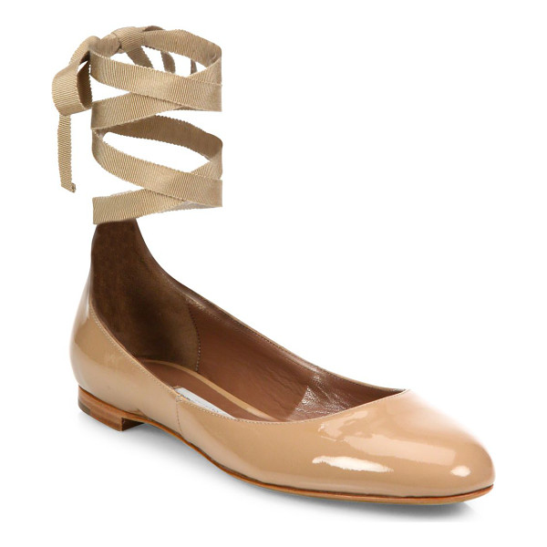 TABITHA SIMMONS daria patent leather ankle-wrap ballet flats - Polished patent flat updated with feminine ankle ties.