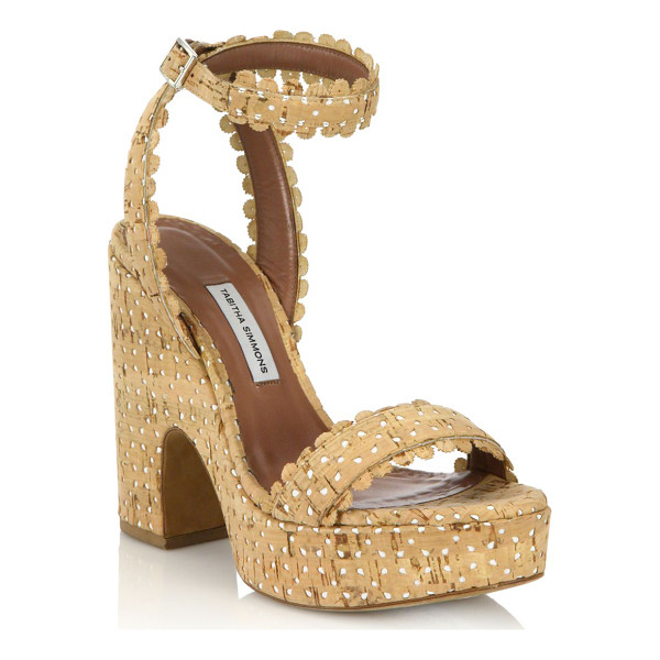 TABITHA SIMMONS Harlow perforated cork platform sandals - Chic perforated cork sandal with scalloped trimSelf-covered...