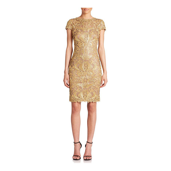 TADASHI SHOJI Cord-embroidered lace cocktail dress - A veritable work of art, this cocktail dress features...