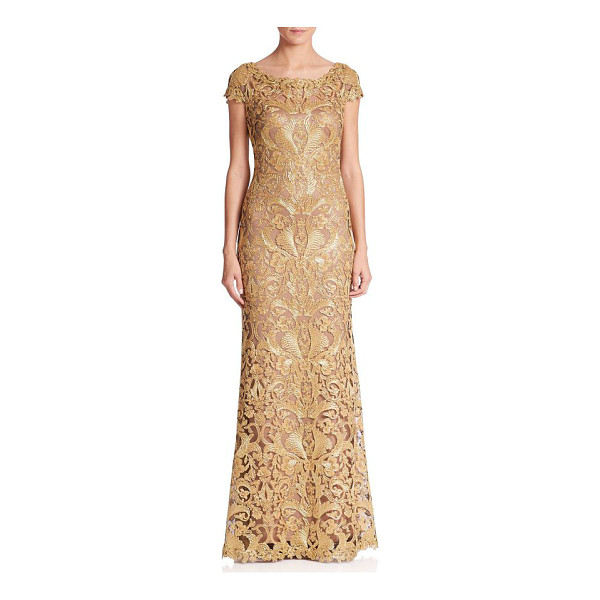 TADASHI SHOJI cord lace cap sleeve gown - Cap sleeve gown featuring embroidered lace design....