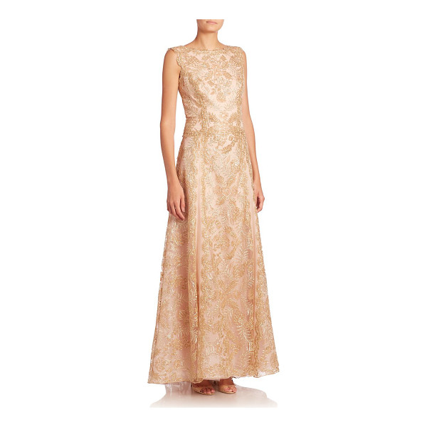 TADASHI SHOJI embellished floral fit-&-flare gown - Dazzling floral adornments on a fit-and-flare style....