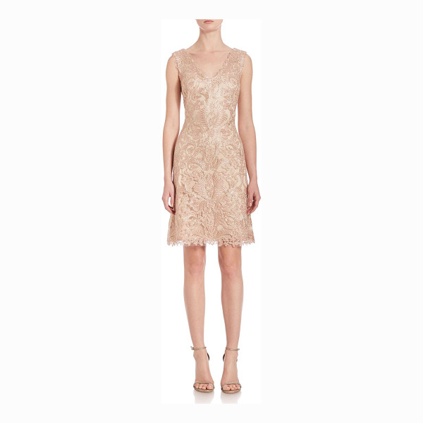 TADASHI SHOJI embroidered lace dress - Exquisite ivory-embroidered tulle defines v-neck...