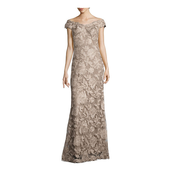TADASHI SHOJI floral embroidered off-the-shoulder gown - Alluring gown embellished with floral embroidery....