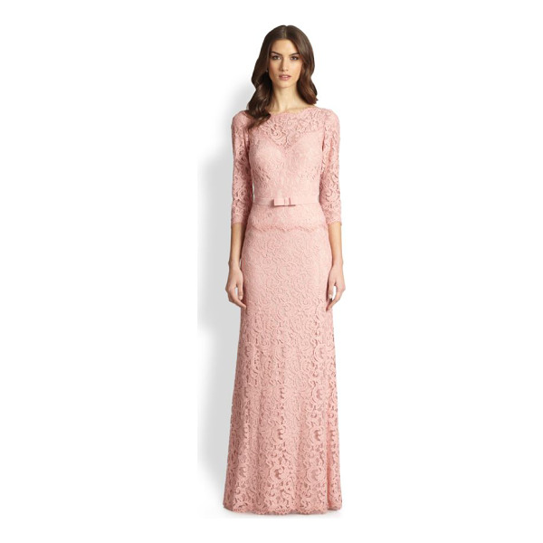 TADASHI SHOJI Illusion lace gown - Semi-sheer floral lace shapes this classic, floor-sweeping...