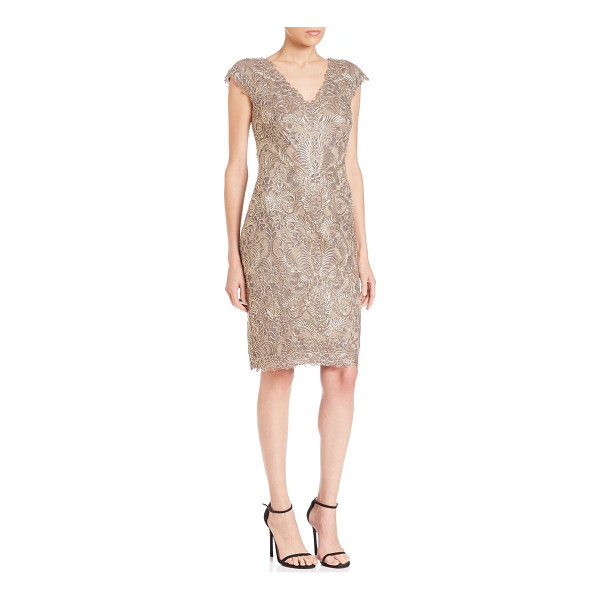 TADASHI SHOJI cap sleeve lace sheath dress - Traces of metallic lace highlights this charming, cocktail...