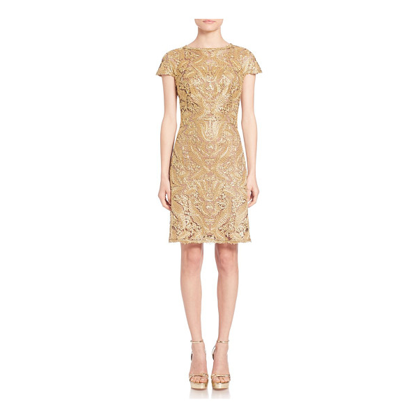 TADASHI SHOJI Metallic lace dress - Alluring metallic lace design with delicate cap...
